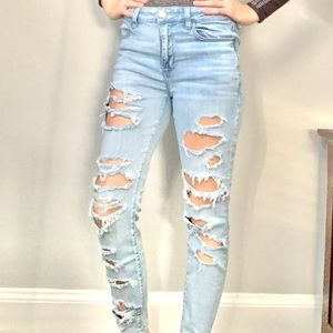 American Eagle Super Distressed High Rise Jeggings